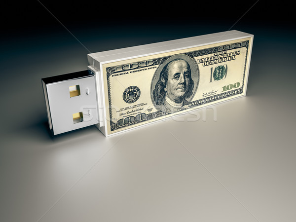 usb drive with dollar note Stock photo © magann