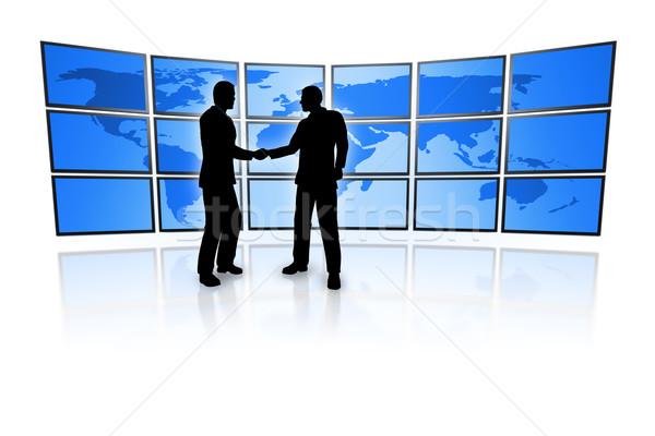 Photo stock: Télévision · mur · hommes · d'affaires · bleu · carte · du · monde · carte