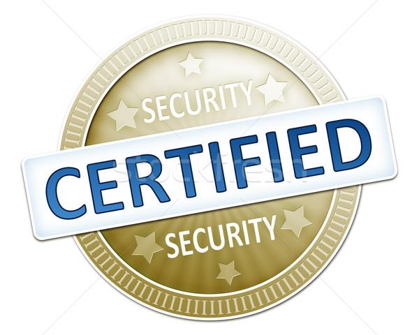 Sécurité certifié image utile bouton design Photo stock © magann