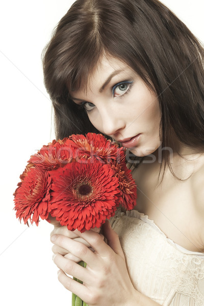 woman with gerbera Stock photo © magann