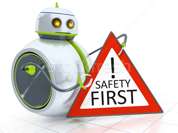 Stock photo: sweet little robot safety first