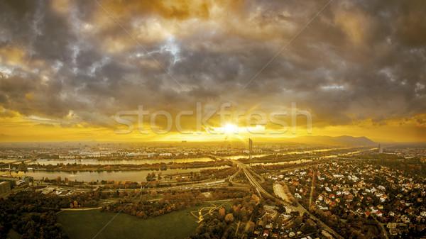 Piękna wygaśnięcia Wiedeń obraz panoramiczny niebo Zdjęcia stock © magann