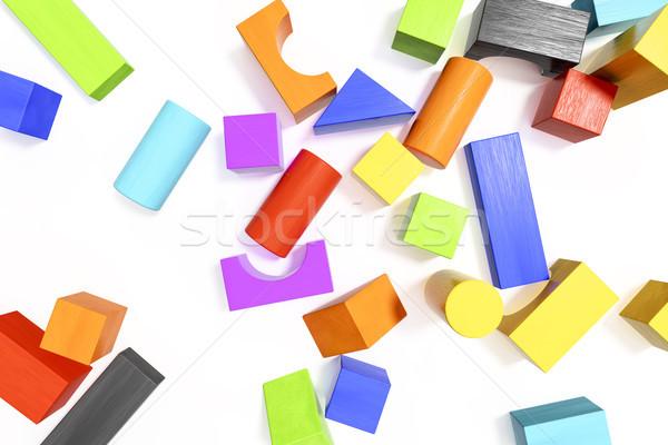 красочный блоки 3d иллюстрации здании древесины оранжевый Сток-фото © magann