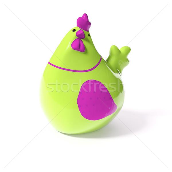 スタイリッシュ 緑 ピンク セラミック 鶏 イースター ストックフォト © magann