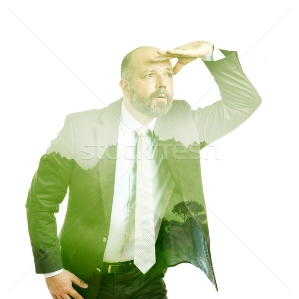 business man double exposure green tree Stock photo © magann