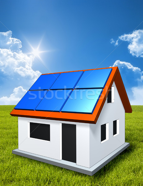 green house in the sun with solar panels Stock photo © magann