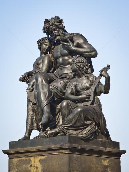 ドレスデン 像 画像 黒 ドイツ 空 ストックフォト © magann