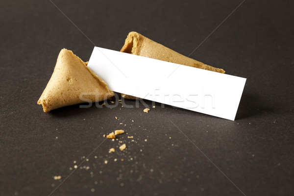 Biscuit de fortune papier vierge un message image papier alimentaire Photo stock © magann