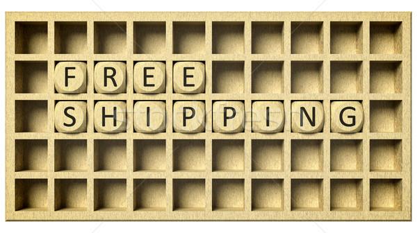木製 グリッド キューブ 3D レンダリング メッセージ ストックフォト © magann