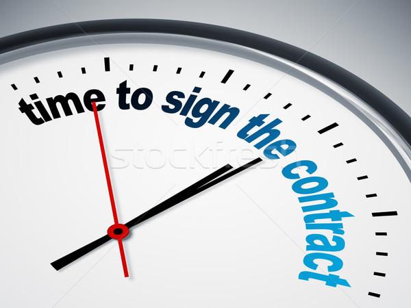 Foto stock: Tempo · assinar · contrato · relógio · negócio · sucesso