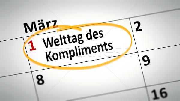 Wereld dag compliment eerste kalender detail Stockfoto © magann