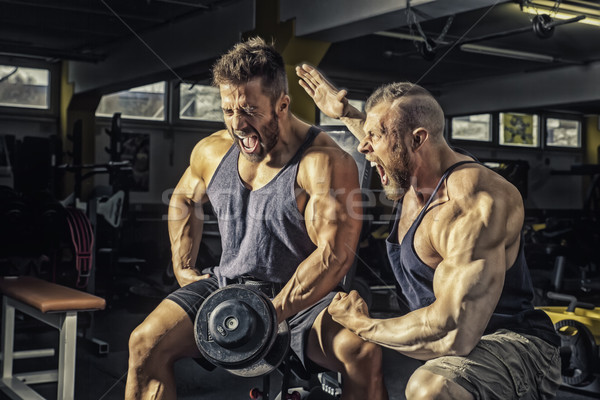 two men at the gym Stock photo © magann