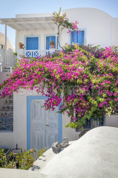 Tipikus ház Santorini Görögország kép égbolt Stock fotó © magann