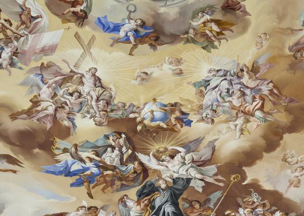 фреска изображение красивой религиозных лице стены Сток-фото © magann