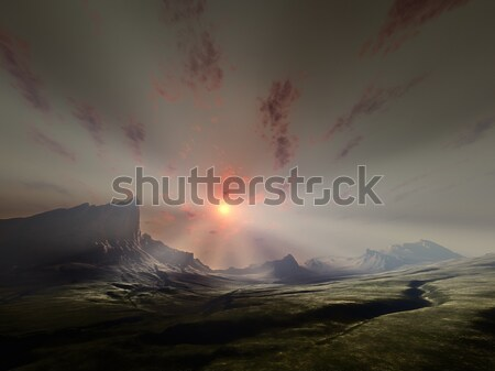 a sunset over a valley with a tree silhouette Stock photo © magann