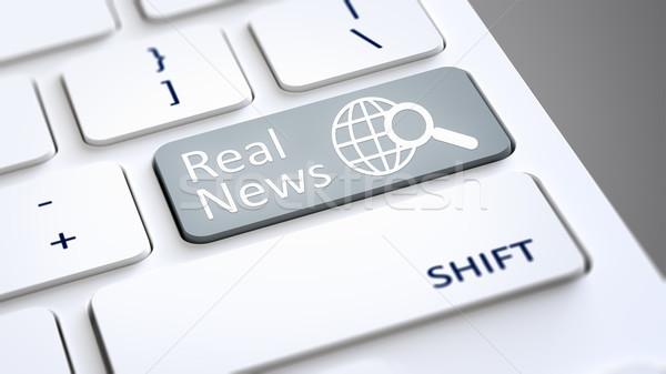 Bilgisayar klavye gerçek haber 3d illustration metin bilgisayar Stok fotoğraf © magann