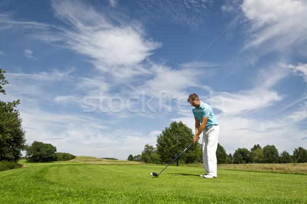 Jogador de golfe imagem jovem masculino nuvens homem Foto stock © magann