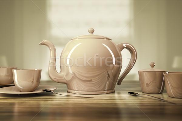teapot and teacups Stock photo © magann