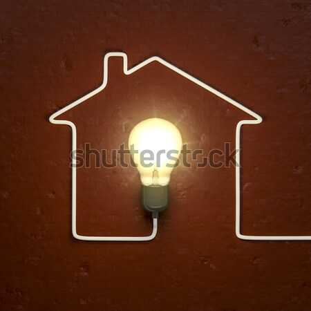 a light bulb building a house with the cable Stock photo © magann
