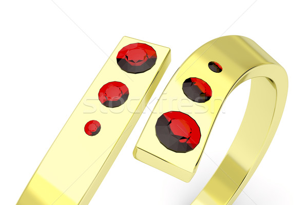 Golden ring with rubies Stock photo © magraphics
