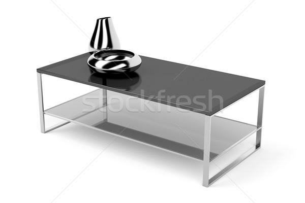 Preto vidro mesa de café topo branco café Foto stock © magraphics