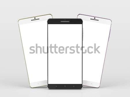 Foto stock: Três · smartphones · diferente · cores · branco · telefone