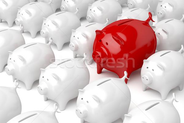 Egyedi piros persely kép különböző pénzügy Stock fotó © magraphics