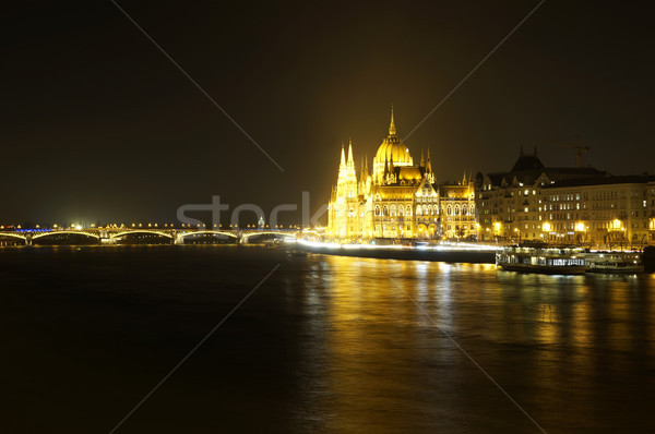 Hungarian Parliament in Budapest at night Stock photo © magraphics
