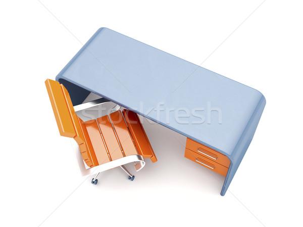 Stok fotoğraf: şık · işyeri · turuncu · sandalye · mavi · büro