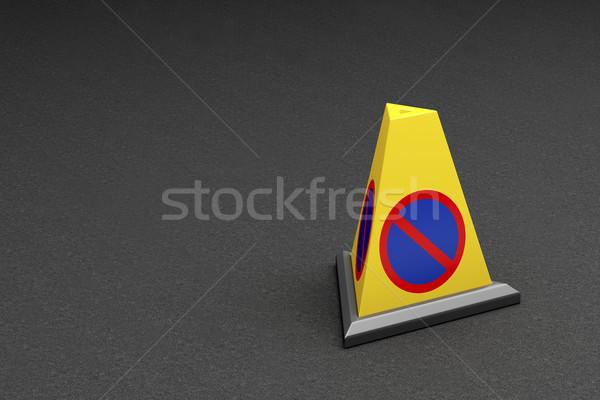 ストックフォト: コーン · 黄色 · 階 · 車 · 道路