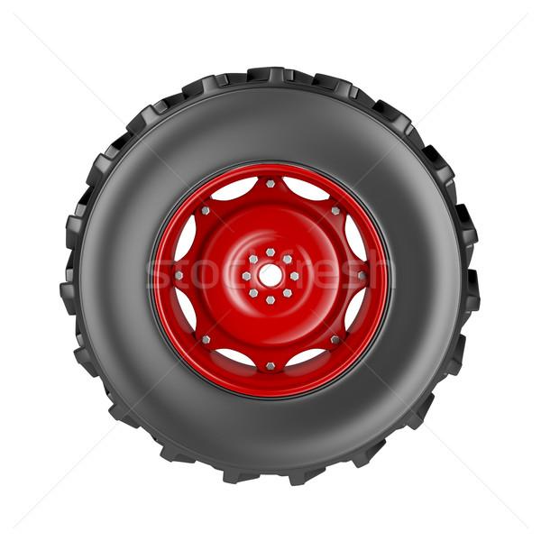 Tracteur roue isolé blanche rouge acier Photo stock © magraphics