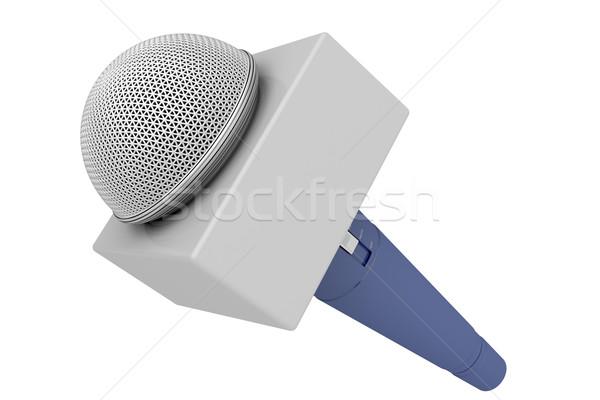 Muhabir mikrofon yalıtılmış beyaz müzik haber Stok fotoğraf © magraphics