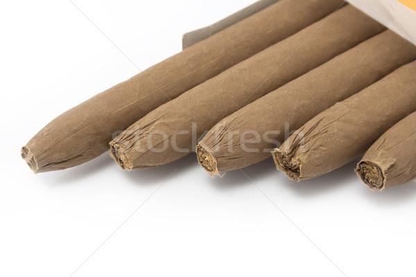 Cubano cigarros isolado branco grupo folhas Foto stock © magraphics