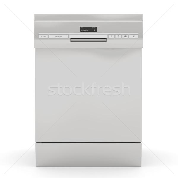 Prata lava-louças isolado branco tecnologia cozinha Foto stock © magraphics