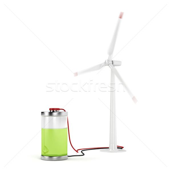 Charging battery with wind turbine Stock photo © magraphics