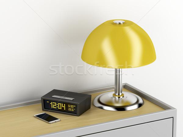 Stockfoto: Nachtkastje · elektrische · smartphone · digitale · wekker