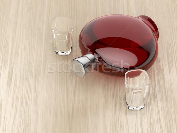 Licor botella dos gafas rojo vacío Foto stock © magraphics