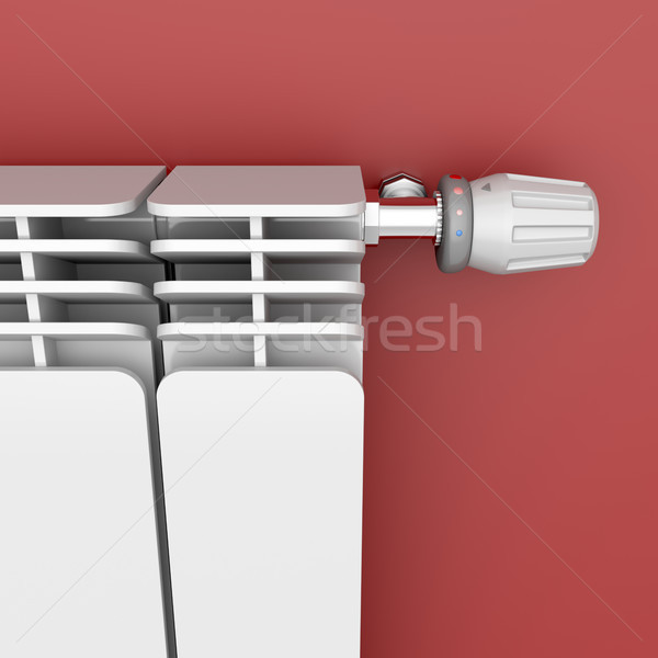 Heating radiator with thermostat Stock photo © magraphics
