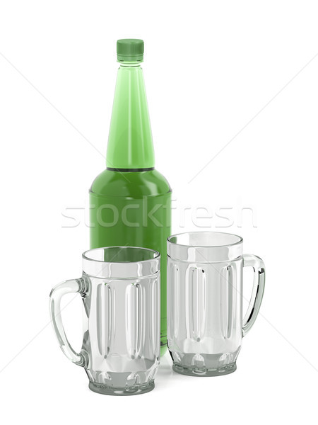 Big beer bottle and two mugs Stock photo © magraphics
