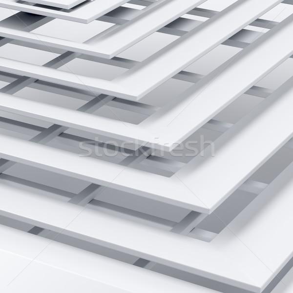аннотация квадратный белый 3d иллюстрации Сток-фото © magraphics