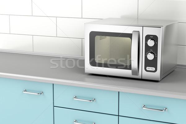 серебро микроволновая печь печи кухне продовольствие Сток-фото © magraphics