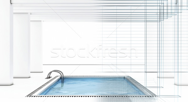 Luxury swimming pool with wire-frame Stock photo © magraphics