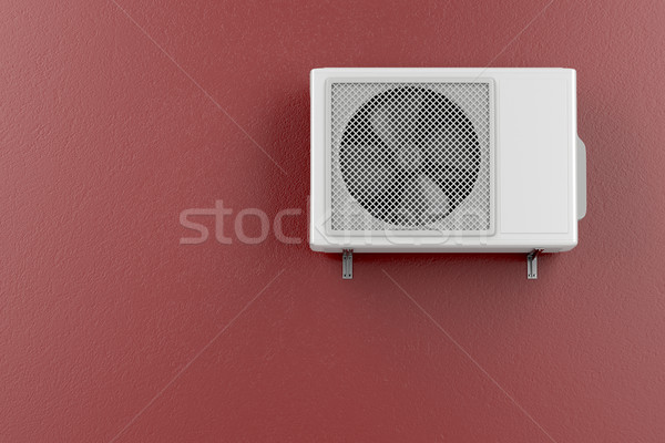 Photo stock: Climatiseur · rouge · mur · technologie · blanche · cool
