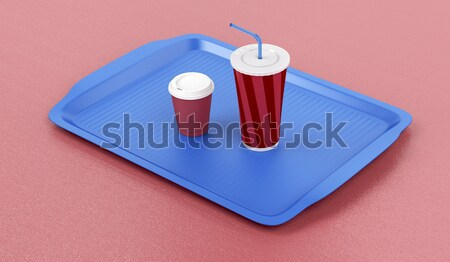 Tray with soda and sandwich Stock photo © magraphics