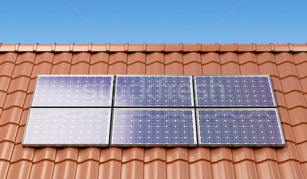 Solar panels on the roof Stock photo © magraphics