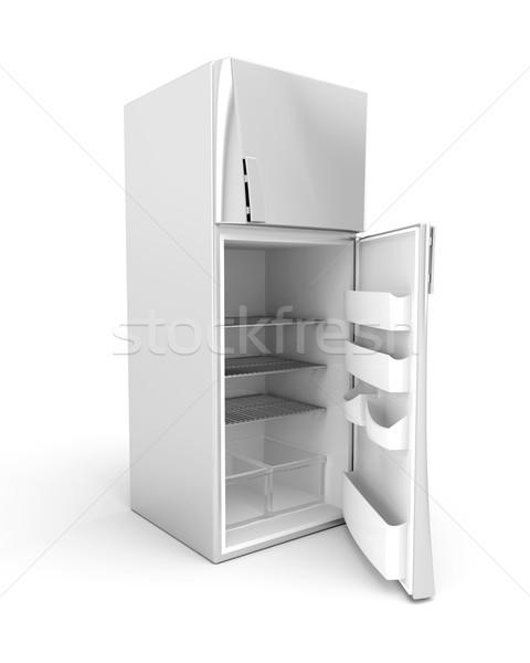 Gümüş modern buzdolabı kapı 3D Stok fotoğraf © magraphics