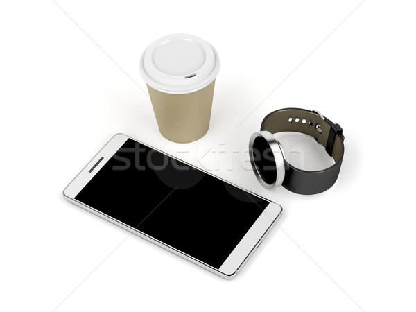 Smartphone, smartwatch and coffee cup Stock photo © magraphics