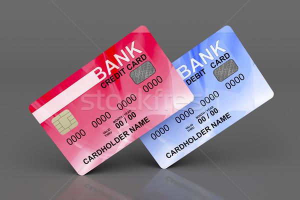 Kredit debit kártyák szürke pénz eladó Stock fotó © magraphics