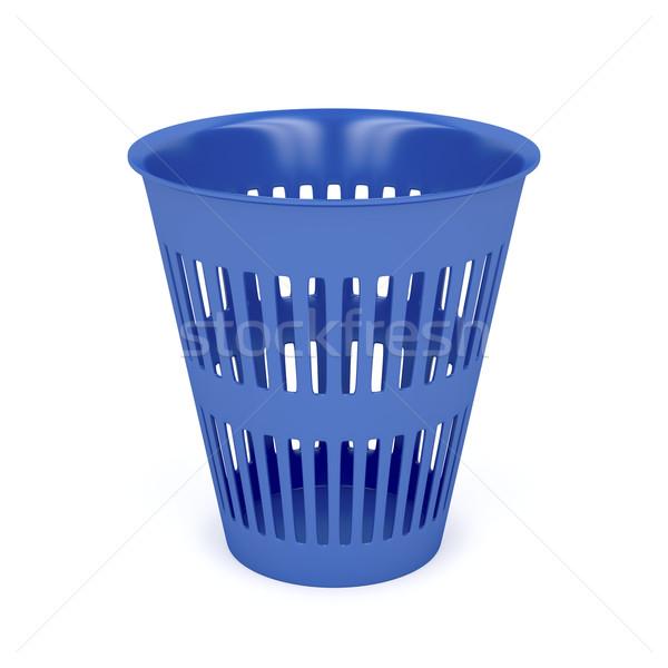 Mülleimer weiß Papierkorb Kunststoff Container kann Stock foto © magraphics