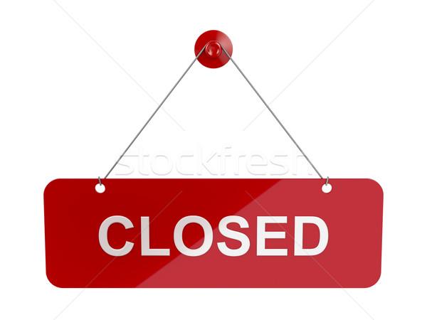 Cerrado signo puerta placa rojo colgante Foto stock © magraphics